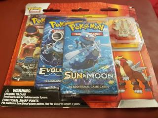 Pack De 3 Boosters + Pin Entei Cartas Pokemon Tcg Xy S&m