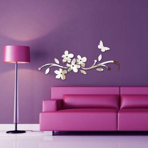 Espelho Decorativo - Acrílico Espelhado - Floral & Borboleta