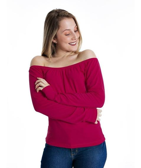 Blusa Ciganinha Manga Longa Camisa Ombro A Ombro Malha