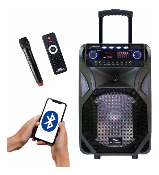 Caixa Amplificada Thunder Black 400 W Rms Bluetooth Usb P10