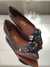 Sapatilha Prime Shoes Com Enfeite Floral - Prata Velho