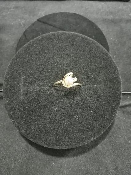 Anillo De Oro De 14kt Con Perla Natural