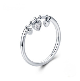 Anel Pingentes Corações Pura Prata 925 - Exclusivo