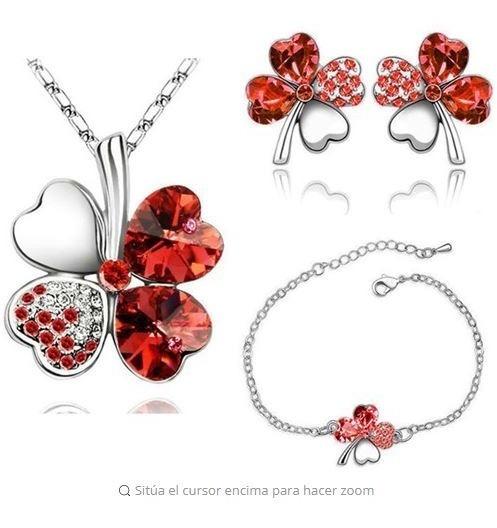 Set Collar, Aretes Y Pulsera Trebol Swarovski Elements