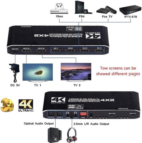 HDMI Matrix 4x2 4K@30Hz HDMI Audio Extractor hdmi Splitter with ...