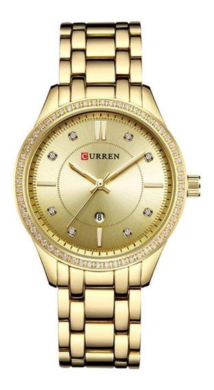 Relógio Feminino Preto Quartzo De Luxo Curren Blanche 9010