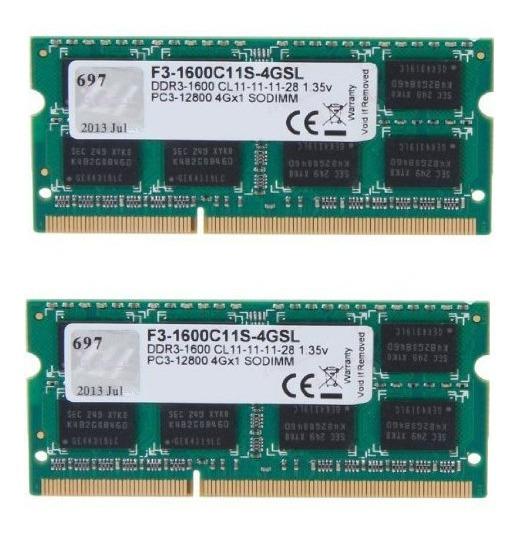 Memorias Sodimm Gskill 2x4gb Ddr3 1600 Pc3l-12800s Notebook
