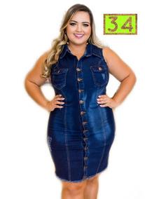 682e246e4 Vestido Jeans Roupas Femininas Casuais Tam Grande Mod. 34