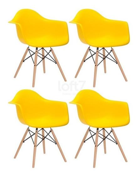 4 Cadeiras Charles Eames Wood Daw Com Braços Amarelo