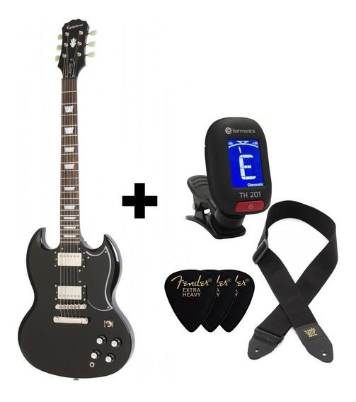 Guitarra Elétrica EpiPhone G-400 Pro Black Afinador Palhetas