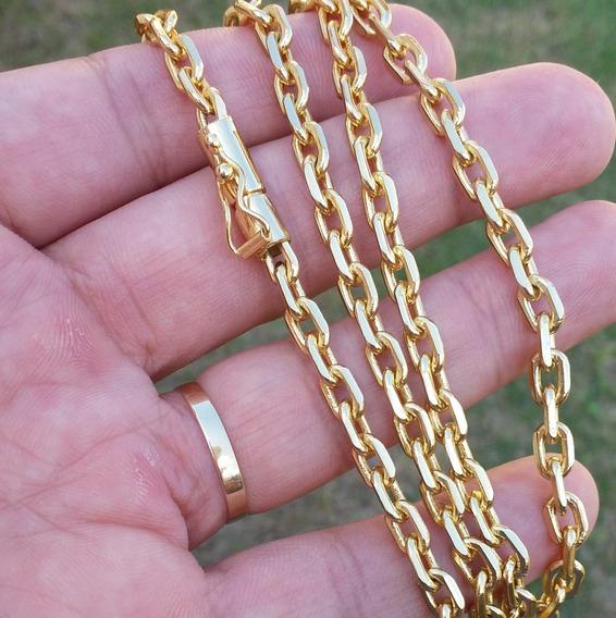 Corrente Masculina Folheada A Ouro 18k 5mm 60cm Com Estojo