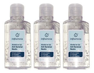 Alcohol En Gel X3 Antibacterial Neutro Higienizante 65ml