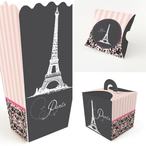 Paquete 30 Cajas Mesa De Dulces Recuerdos Fiesta París
