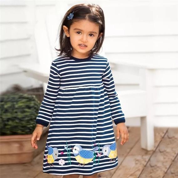 Vestido Sobre Legging Infantil Manga Longa Passarinhos