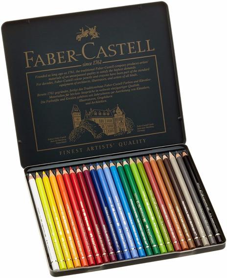 Lápis De Cor Profissional Polychromos 24 Cores Faber Castell