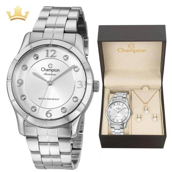 Relógio Champion Feminino Kit Cn29909s Com Nf