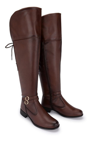 Bota Montaria Cano Longo Feminina Over The Knee Couro 11503