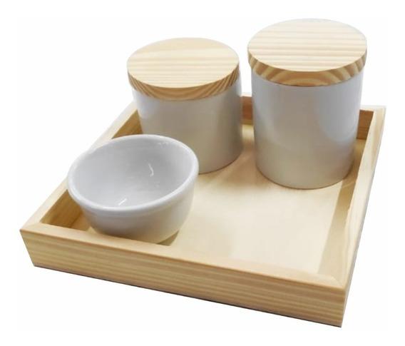 Kit Higiene Bebê Porcelana C/ Tampa E Bandeja Madeira Pinus
