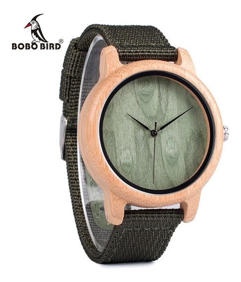 Relógio Unissex Bambu Madeira D12 Bobo Bird Pulseira Nylon