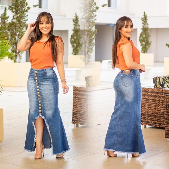 Saia Longa Jeans Frt Com Botões