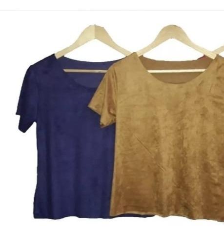 Blusa Suede Feminina T-shirt Moda Promoção 201