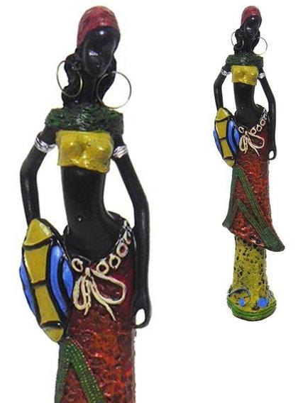 Boneca Africana Mesa Enfeite Marrom Sala Vestido Decoracao