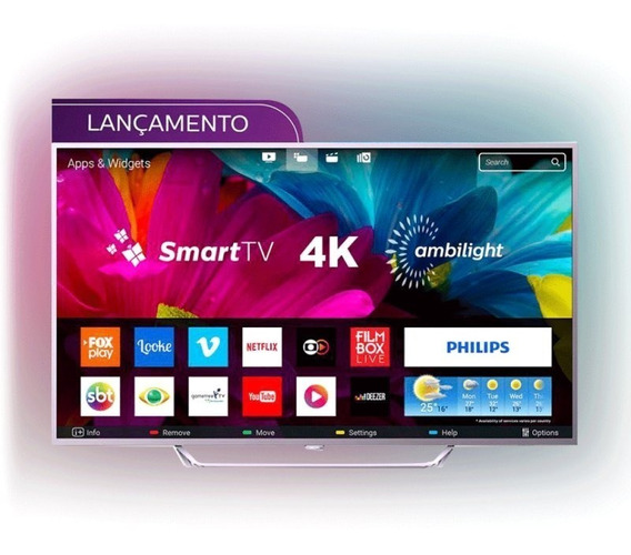 Smart Tv Philips 65 Led Ultra Hd 4k 65pug6412/78 Ambilight