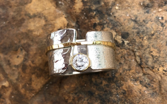 Anel De Prata, Detalhe Ouro 18k. E Diamante 40 Pontos Jp1.