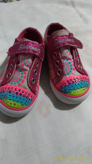 Tenis Infantil Menina Rosa Colorido Usado Bom Estado Nº 22