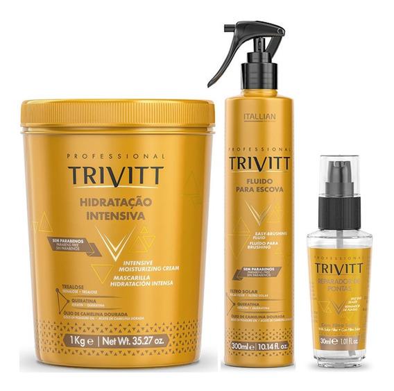 Kit Hidratação Trivitt Profissional Máscara De Hidratação Fluido P/ Escova E Reparador De Pontas