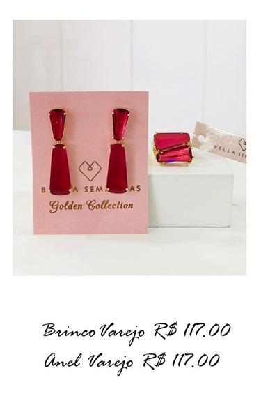 Conjunto Luxo Brinco E Anel Dourado Com Pedra Vermelha
