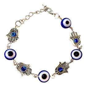 Pulseira Amuleto Talismã Proteção Olho Grego Mão Hamsa Linda