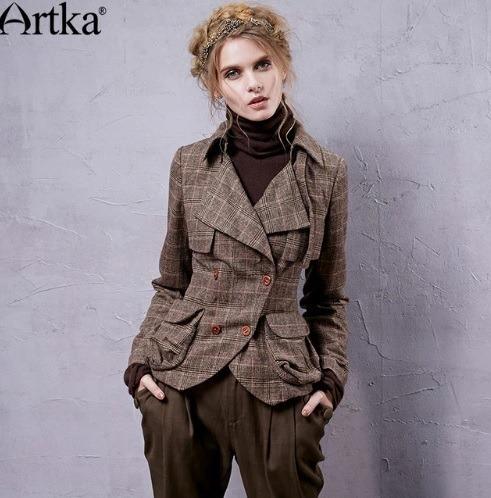 Artka Chaqueta Para Mujer Abrigo Vintage A Cuadros