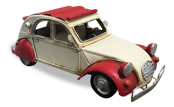 Auto Escarabajo Blanco Y Rojo En Miniatura Coleccionable