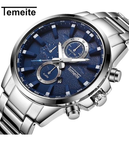 Relógio Masculino Temeite Platinum Blue T13 Com Frete Grátis