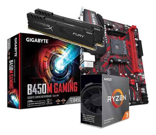 Kit Processador Amd Ryzen 3 3100 B450m Gaming Hx 2x 4gb