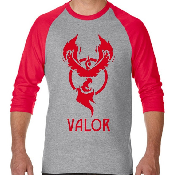 Playera Raglan 3/4 Gris Team Valor Pokemon Go