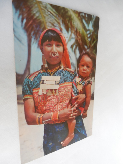 Postal India Kuna Con Su Hijo Traje Tradicional Panama