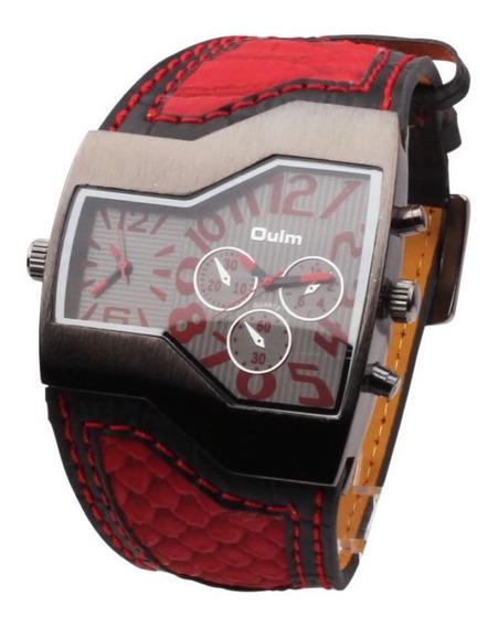Relógio Masculino Pulso Oulm 1120 - 2 Analógico - Vermelho
