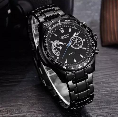 Relógio Masculino Curren 8020 Quartz Fundo Preto