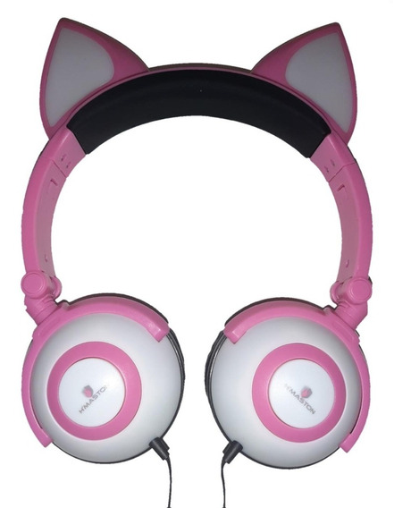 Fone De Ouvido Orelha De Gato Headphone Led P2 Cosplay Music