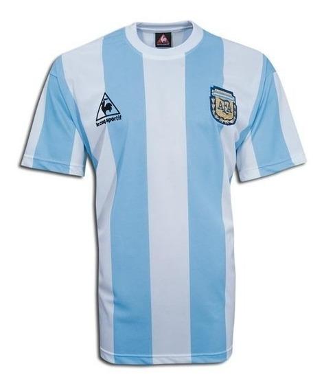 Camiseta De Argentina Mundial México 86 + Nº10 Lecoq