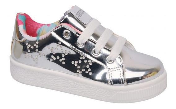 Zapatillas Plumitas Niña Cordones Plata Brillantes