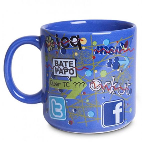 Caneca Porcelana Social Media Coffee Internet 300 Ml Café