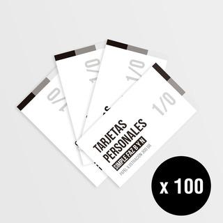 100 Tarjetas Personales - Blanco Y Negro Simple Faz