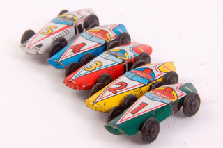 Antiguos 5 Autos Vintage Tin Toy Japan 1950-60s De Colección