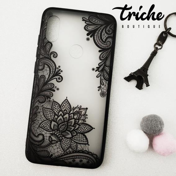 Funda Encaje Negro Flor Loto Mandala Xiaomi Redmi Note 6 Pro
