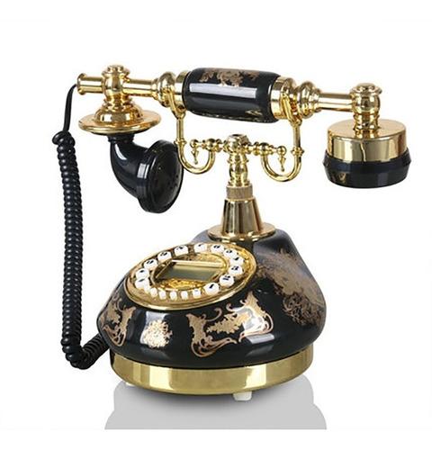 Teléfono Antiguo Vintage Con Cable De Teléfono Dial