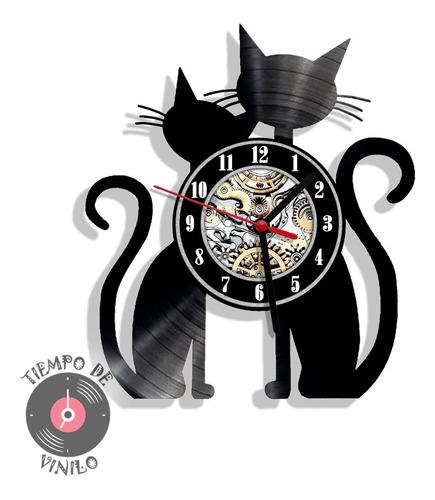 Reloj De Pared Gatos Ref.01 Elaborado En Disco Lp
