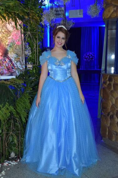 Vestido De Festa 15 Anos Longo Azul Cinderela